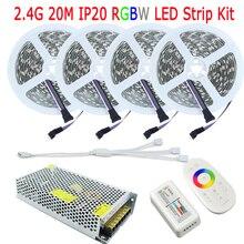 20M DC12V RGBW Fita De LED Tape RGB White Warm White IP20 No Waterproof 15M 10M Full Kit 2.4G RF RGBW Controller Remote AC Power