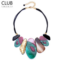Statement retro acrylic jewelry choker necklace women leather rope chain Geometric pendant Kolye Colar Gothic Accesorios mujer