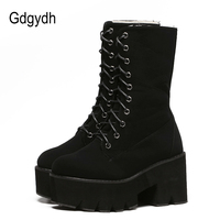 Gdgydh 2017 New Arrival Thick Heels Winter Shoes Women Slip Resistant Female Snow Boots Mid Calf
