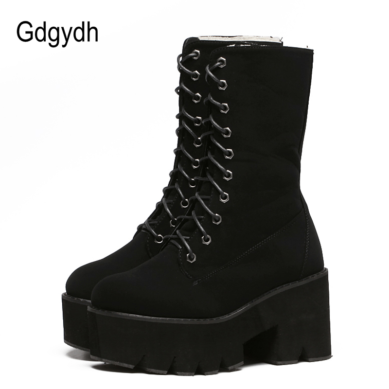 Gdgydh 2017 New Arrival Thick Heels Winter Shoes Women Slip-resistant Female Snow Boots Mid-Calf Lacing Platform Short Booties new fashion superstar brand winter shoes embroidery snow boots tassel women mid calf boots thick heel causal motorcycles boots