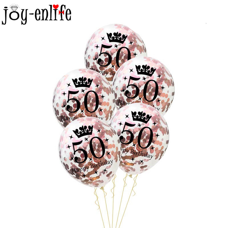 Image 2 - Birthday Party Decorations Adult 5pcs 30/40/50th Happy Birthday Confetti Balloons Rose Gold Tassels Anniversary Party Supplies-in Ballons & Accessories from Home & Garden