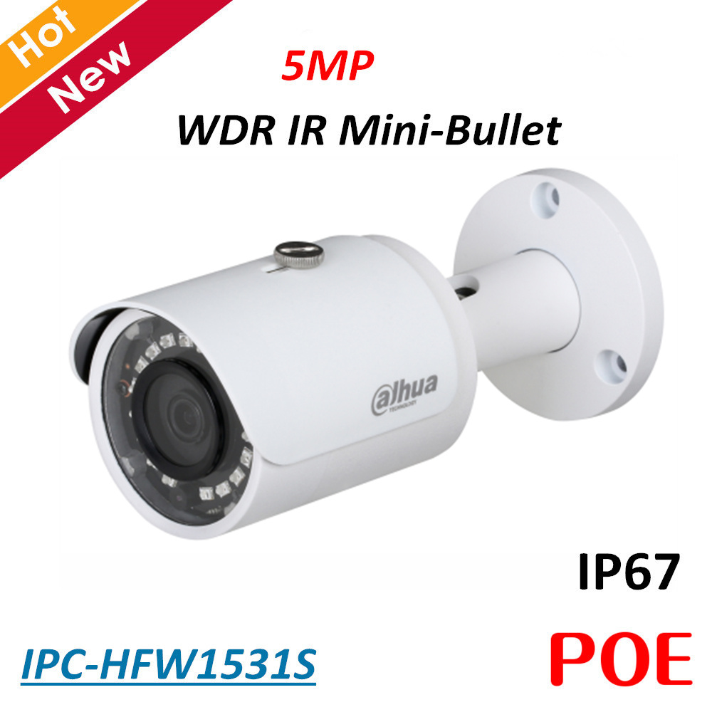 5MP Dahua POE Ip camera IPC-HFW1531S WDR IR Mini Bullet Camera H.265 H.264 2.8 mm fixed lens IP67 Security camera baby monitor5MP Dahua POE Ip camera IPC-HFW1531S WDR IR Mini Bullet Camera H.265 H.264 2.8 mm fixed lens IP67 Security camera baby monitor