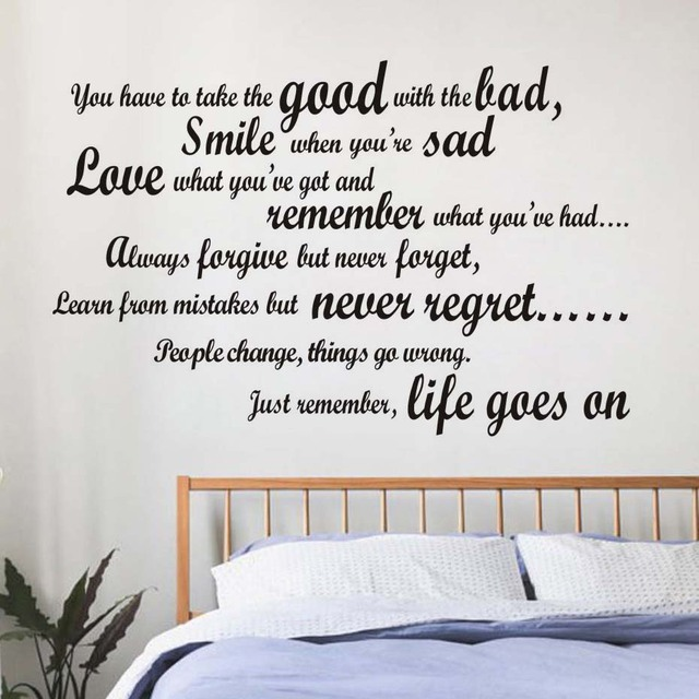 DCTOP Smile When You Are Sad Living Room Wall Decal Art Vinyl Removable  English Text Quote