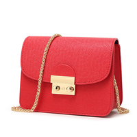 Fashion Women Small Messenger Bag Female Chain Crossbody Shoulder Bags Flap Solid Pattern PU Leather Mini