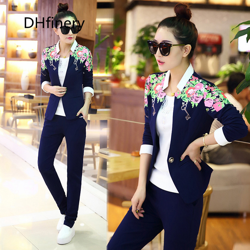 Cheap women set 3 piece casual full sleeve blue pink Work clothes Top vest pants three