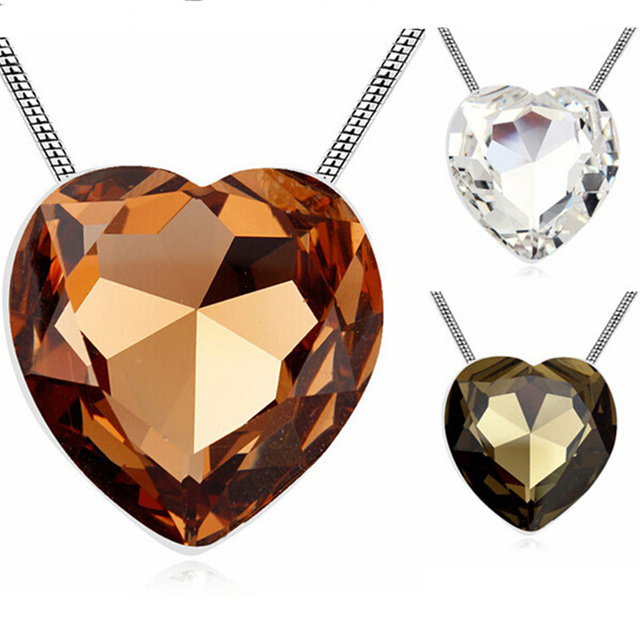Heart Necklace Big Pendant Women Accessories Long Sweater Chain Costume Jewelry Austria Crystal 3 Colors Large Heart Bijoux Gift