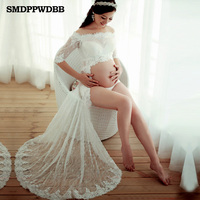 SMDPPWDBB Maternity Photography Props Maternity Lace Gown White Dresses Sexy Pregnancy Clothes Long Dress For Pregnancy Woman