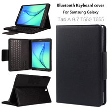 For Samsung GALAXY Tab A 9.7 T550 T555 P550 P555 Removable Bluetooth Keyboard Portfolio Folio PU Leather Case Cover + Gift