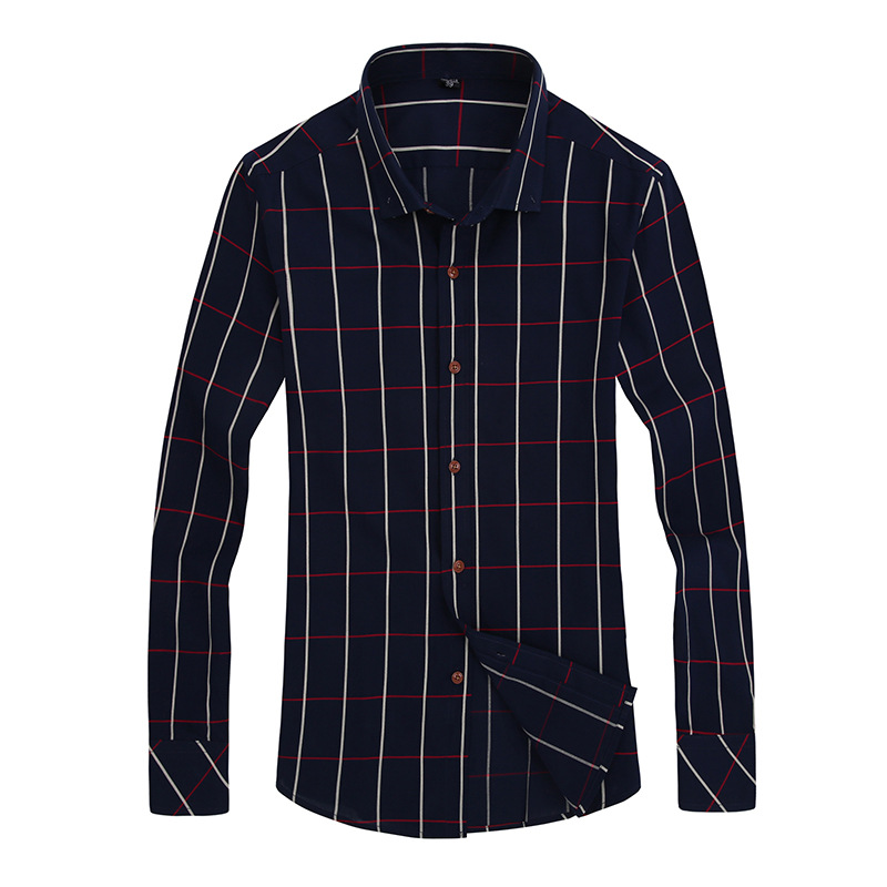 New Autumn Fashion Brand Men Clothes Slim Fit Long Sleeve Shirt Plaid Mens Shirts Casual Slim Fit New Model Shirts