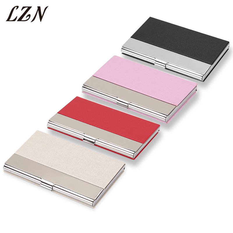 LZN PU Leather Business Credit Card Holder For Business Office Steel Portable Aluminum I ...