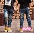 Джинсы 2016 новые Зимние мальчики теплый жан для 3 до 14 лет дети одежда мода стиль высокое качество дети брюки B182