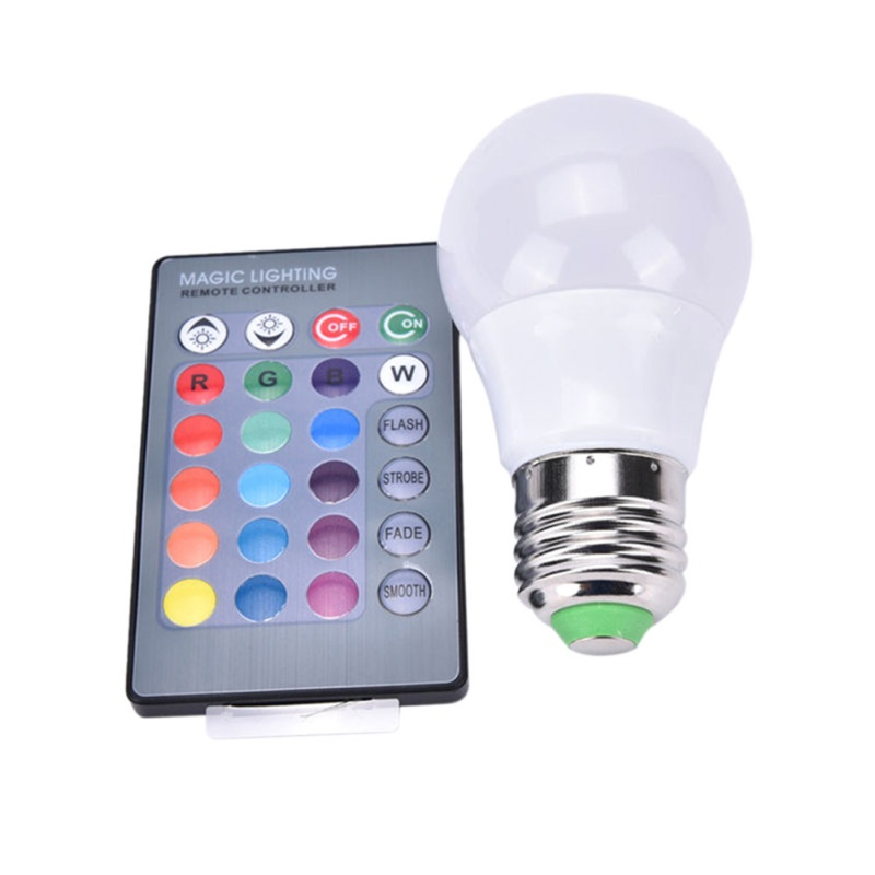 E27 LED Light Bulb 3/5W RGB Color Changing LED Lamp Dimmable with Remote Control