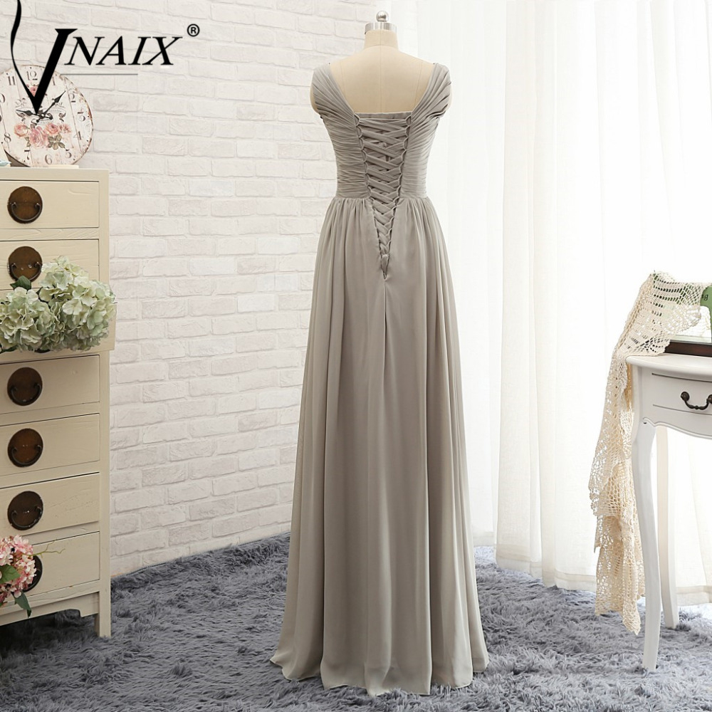 Vnaix b3079 real image a line chfiion plus size long grey vnaix b3079 real image a line chfiion plus size long grey bridesmaid dress v neck cap sleeves lace back elegant party gowns in bridesmaid dresses from ombrellifo Image collections