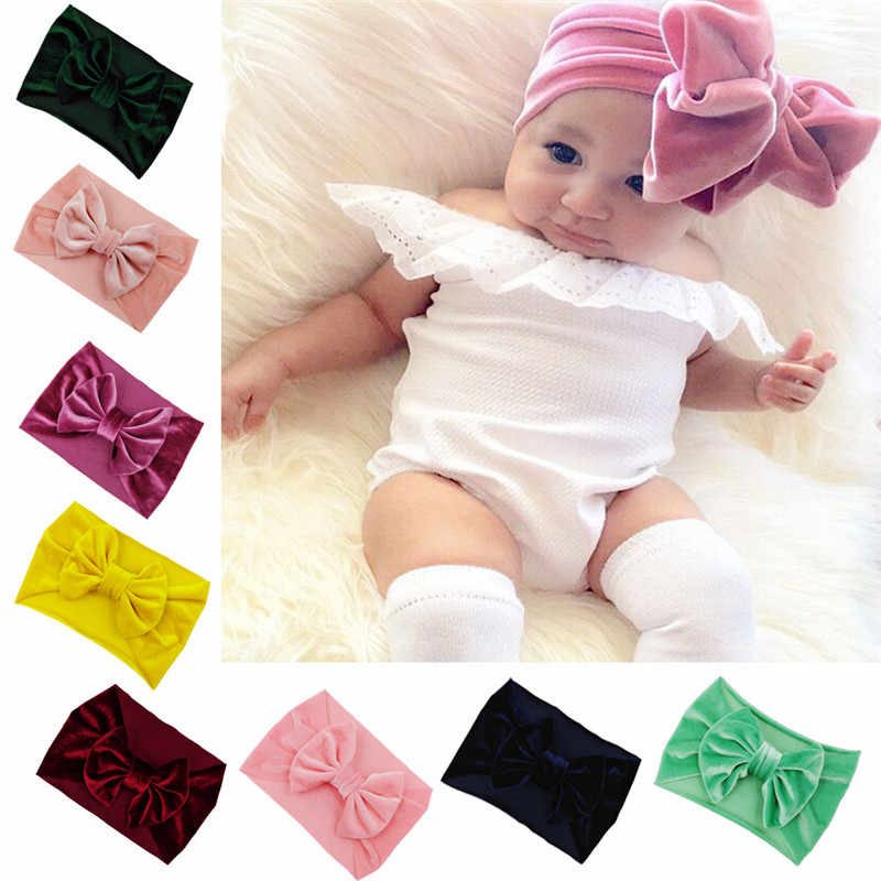 Girls Big Floppy Velvet Bow Headband For Kids 2018 Solid Elastic Velvet Hair Band Large Bows Children Soft Hair Accessories