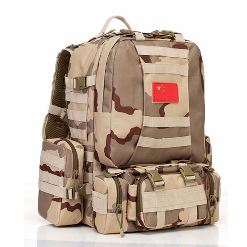 Nouveau sac de voyage extérieur multifonction grande capacité 50L Camping camouflage tactique désert randonnée sac à dos système de sangles MOLLE