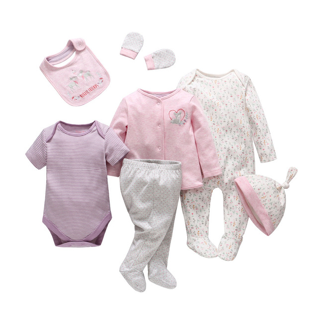 2017 Mamelucos Del Bebé Set de Algodón de Manga Larga Infantil de Dibujos Animados Bebé Floral Ropa Rromper Bebé Recién Nacido Sombrero de Los Pantalones T Camisa Babero ropa