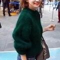 Caliente grueso de Las Mujeres Suéter Largo de la Manga de la Linterna de Gran Tamaño Suéteres de Cachemira Suéteres de Navidad Prendas de Punto Tire Femme 2017 Invierno