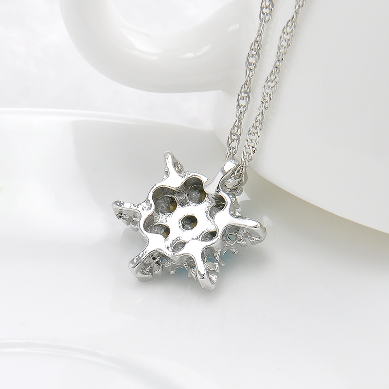 Charm Vintage Lady Blue Crystal Snowflake Zircon Flower Silver - Märkessmycken - Foto 5