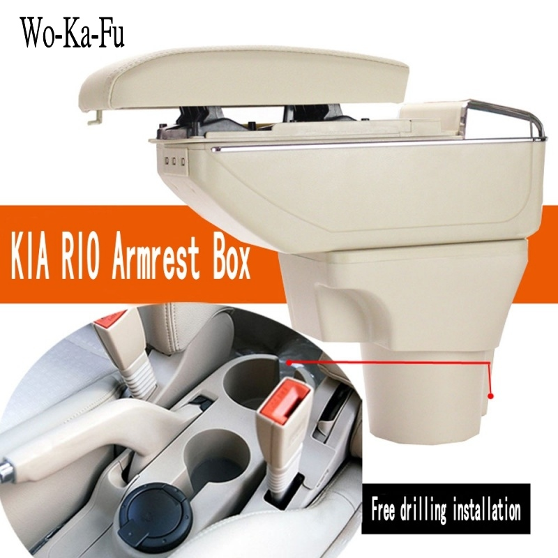 For Kia Rio armrest box central Store content Storage box kia pride armrest box with cup holder ashtray products USB interface