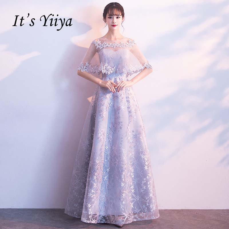 It's YiiYa Two Pieces Illusion Dress And Shawl Half Sleeves Flowers Zipper Pattern Party Dress Floor Length Evening Dress YS002
