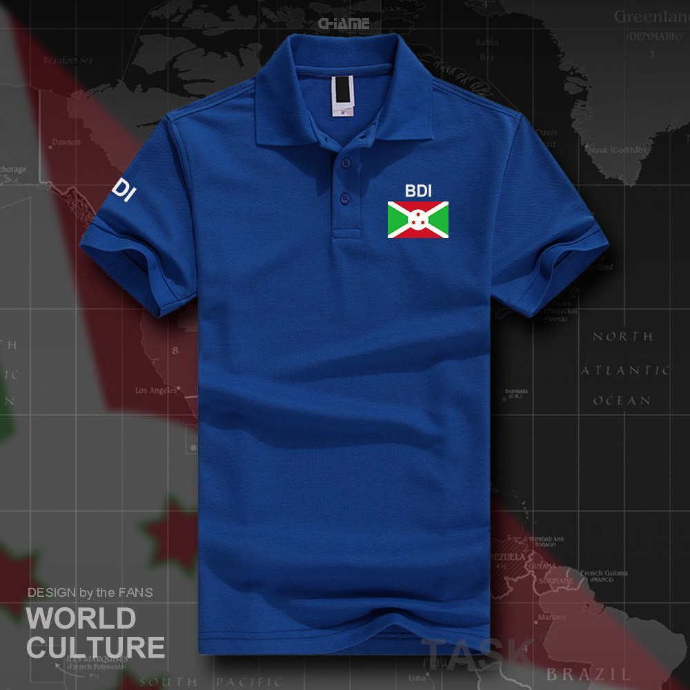 Burundi Burundian   polo   shirts men short sleeve white brands printed for country 2017 cotton nation team flag East Africa BDI BI