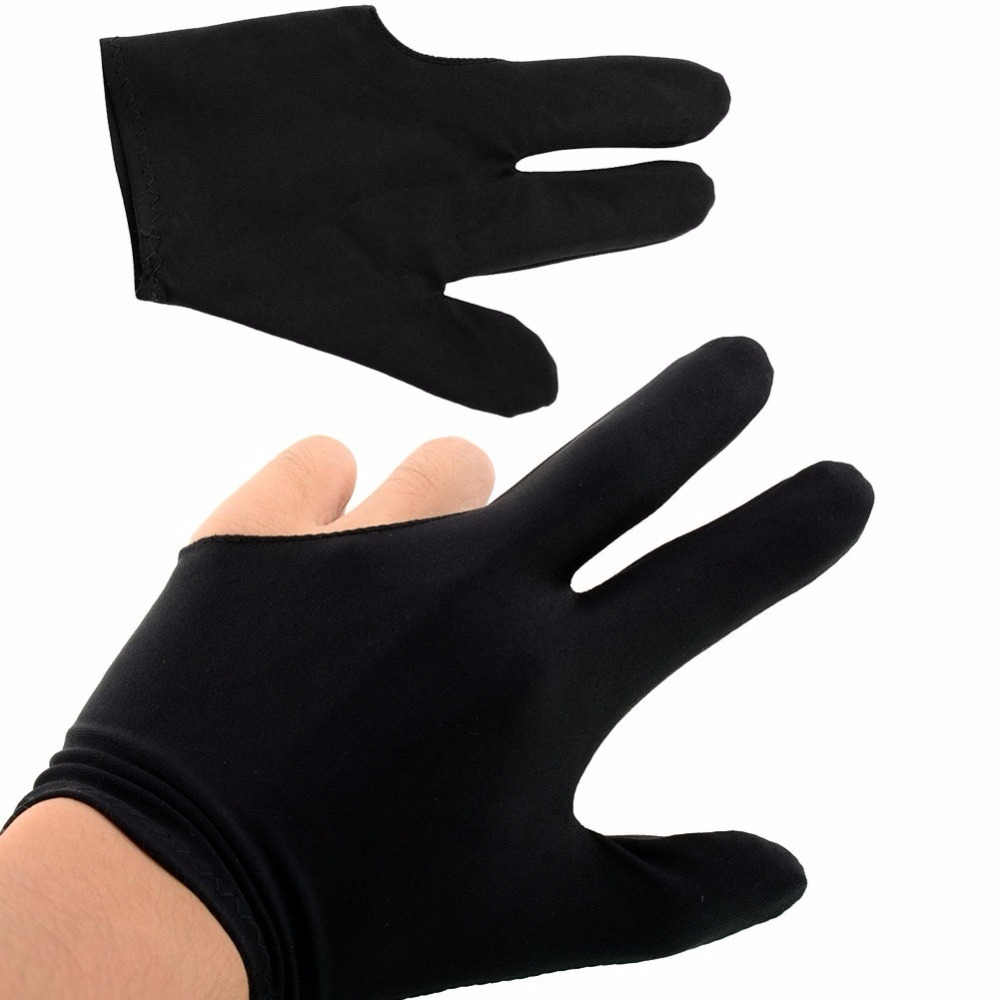 4 Pcs Black Professional Spandex Snooker Billiard Glove Pool Left Hand Three Finger Accessories