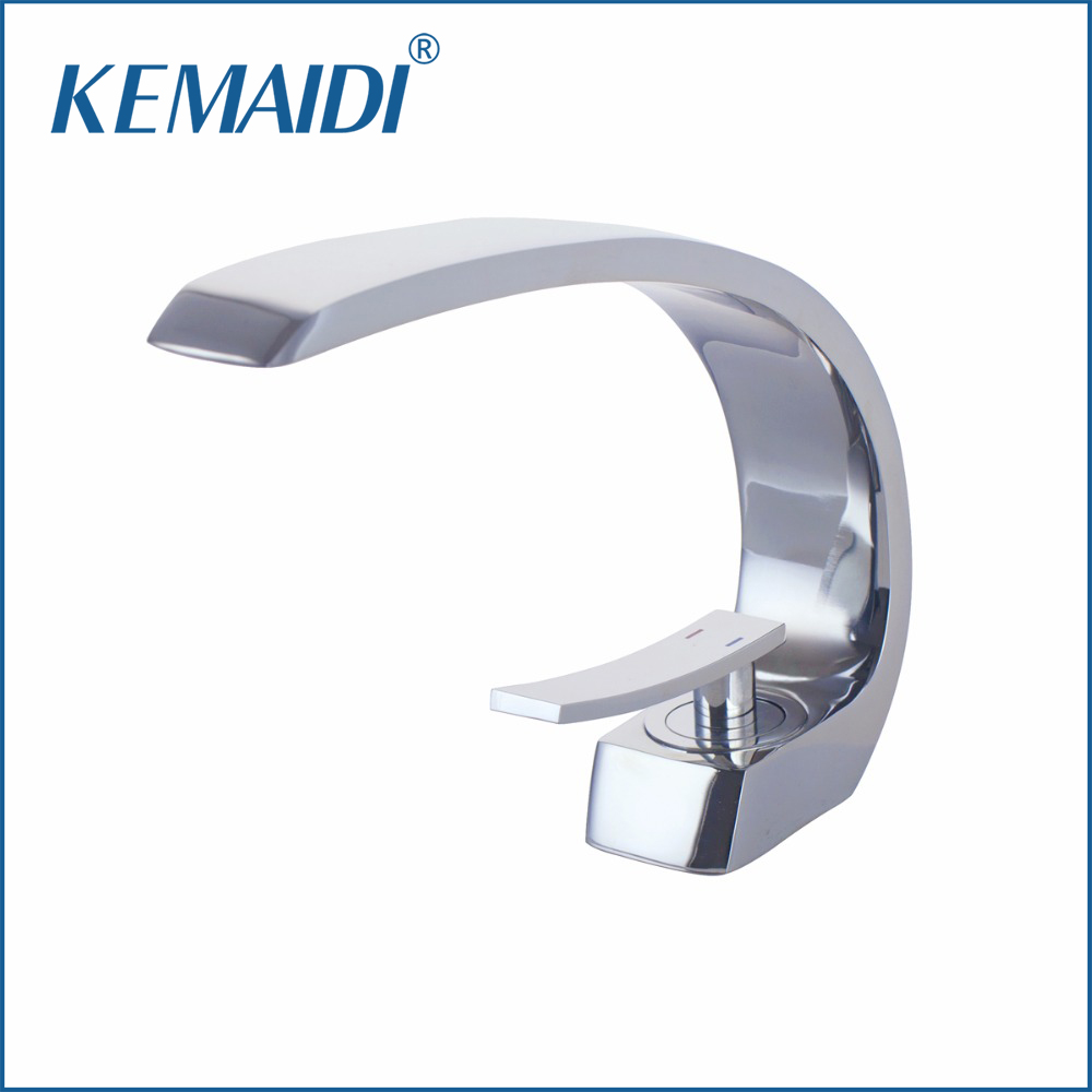 KEMAIDI Sink Faucets Basin Faucets Waterfall Faucet Single Handle Basin Hot &Cold Mixer Tap Bathroom Faucet Sink Chrome Finish flg basin faucets modern orb bathroom faucet waterfall faucets single hole cold and hot water tap basin faucet mixer taps