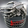 2016 hombres de La Moda Punk cráneo cinturón de danza de la calle remache completo cinturones de cinturón de Hip hop discoteca de rock heavy metal cráneo cinturón personalidad