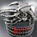 2017 hombres de La Moda Punk cráneo cinturón de danza de la calle remache completo cinturones de cinturón de Hip hop discoteca de rock heavy metal cráneo cinturón personalidad
