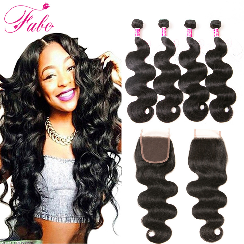Fabc Hair Brazilian Virgin Hair with Closure Body Wave Human Hair 3 Bundles with Closure 4 Bundles Brazillian Hair With Closure