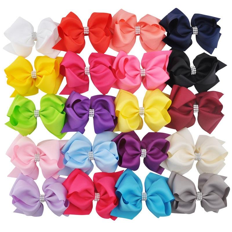 20pcs / lot 6 inča Mješovita boja Najnoviji Djevojke Hairwear Veliki Dvostruki slojevi Hairbow Kids G Ples Boutique Hair Bows Clips