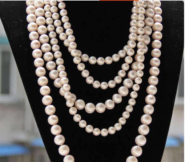 Wedding women Jewelry 47'' 6 7mm 9 10mm Top AAA Natural Freshwater pearl Round White Pearl Long Necklace highlight Handmade