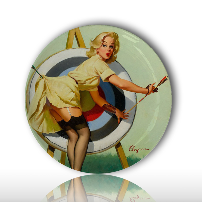 Artist Gil Elvgren Sexy Beauty Painting Plate Retro Illustrator Pin-up Girls Home Decorative Dish Pretty Girl Wall Hanging Plate ...