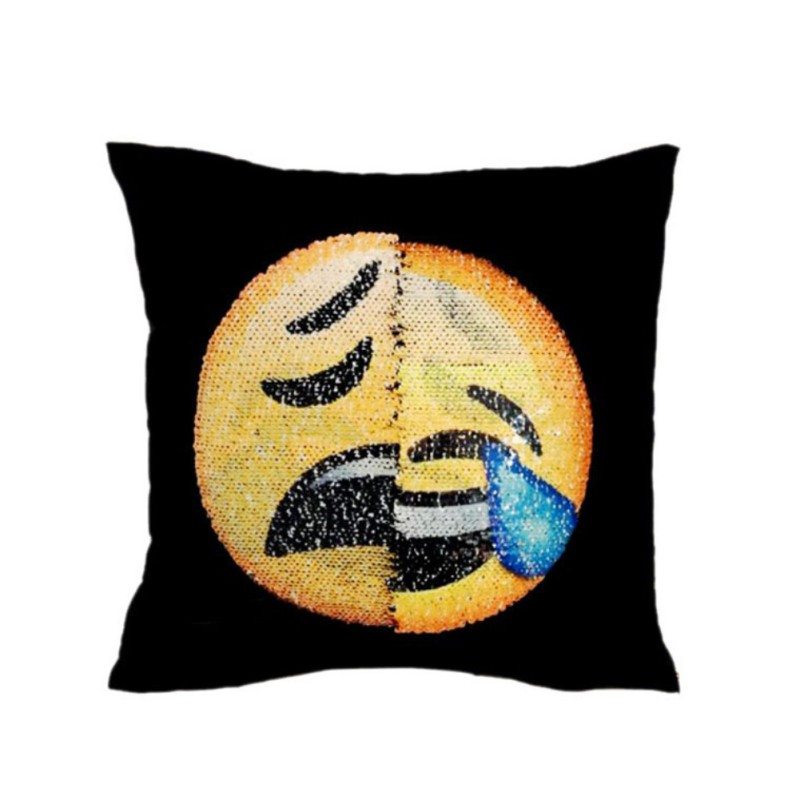 DIY 40*40 CM Double-sided Face Expression Sequins Pillowcases Throw Pillow Case Cafe Home Decor Levert Cushion Cover