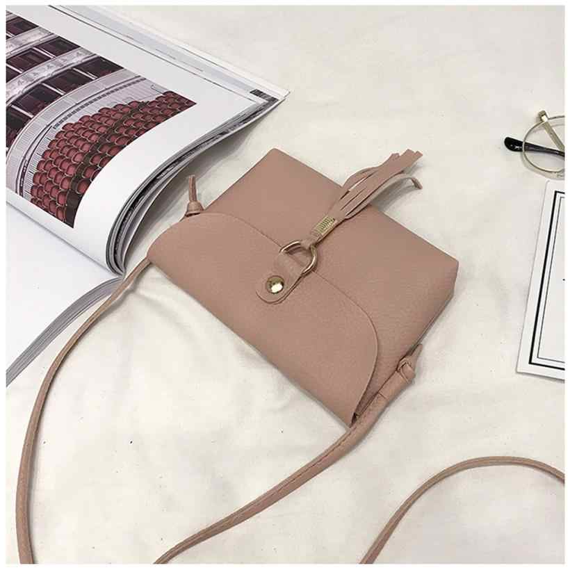 Mini bolso de moda para mujer bolso de cuero PU Vintage Bolso pequeño bandolera borla bolsos de hombro de alta calidad 2018 10Jun 11