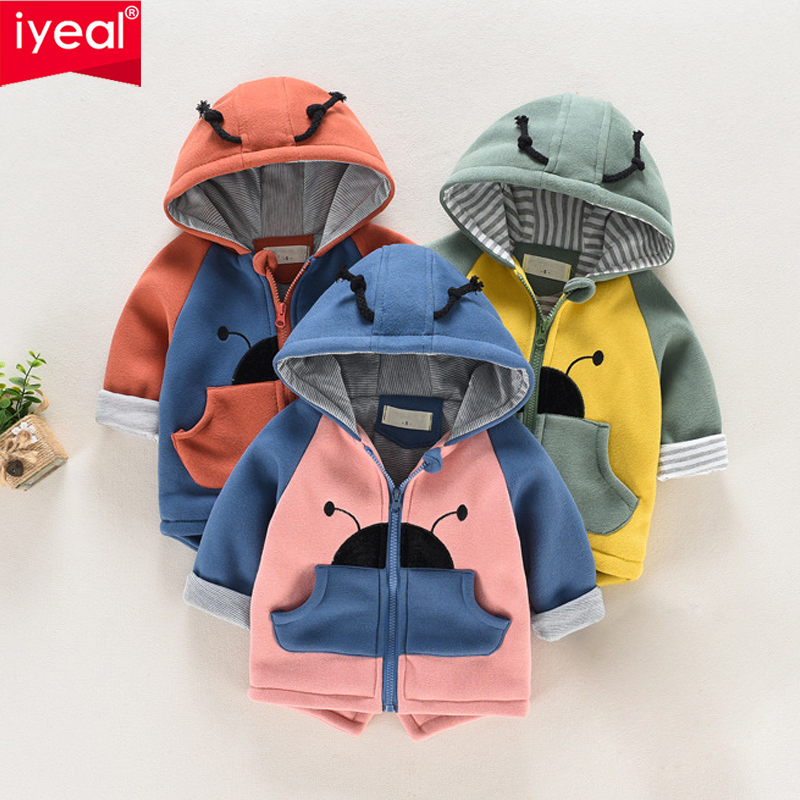IYEAL Autumn Winter Baby Coat Boys Girls Cotton Cute Ladybug Hooded Outerwear Casual Kids Jacket Children Clothing Sports Suit yingzifang new autumn winter baby coat boys girls cotton cute bear hooded coat casual kids jacket children clothing sports suit