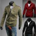 Fashion 2017 New Spring Autumn Men's luxury solid color casual Slim jacket personalized single-breasted jacket coat