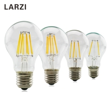 LARZI Retro LED E27 A60 2W 4W 6W 8W Filament Light Lamp AC 220V 230V 240V Clear Glass Shell Vintage Edison Led Bulb led edison lamp c35 e14 led candle light filament retro clear lamp 2w 4w 6w 220v 240v cold warm white for chandelier