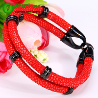 10 Pieces Lot Genuine Red Stingray Leather Bracelet Luxury Stainless Steel Beads Bracelet High Grade