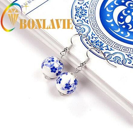 BONLAVIE New Fashion Jewelry Chinese Style Blue and White Porcelain Earrings Flo