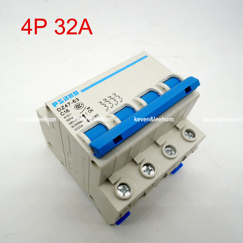 DZ47 4P 32A AC 230V 400V Circuit breaker MCB Household air switch without leakage C typeDZ47 4P 32A AC 230V 400V Circuit breaker MCB Household air switch without leakage C type