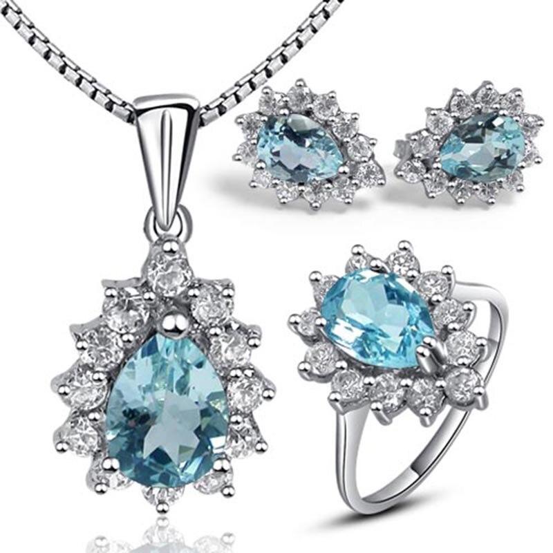 Design classique topaze bleue goutte d'eau forme topaze ensembles de bijoux bague véritable pierre gemme pendentif collier sterling 925 bague en argent