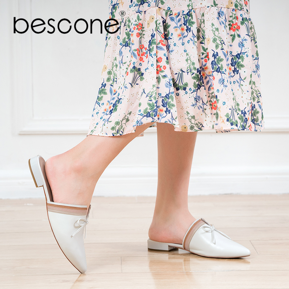 BESCONE Fashion Woman Mules Handmade Genuine Leather Sexy Pointed Toe Soft Low Heel Shoes Classic Casual