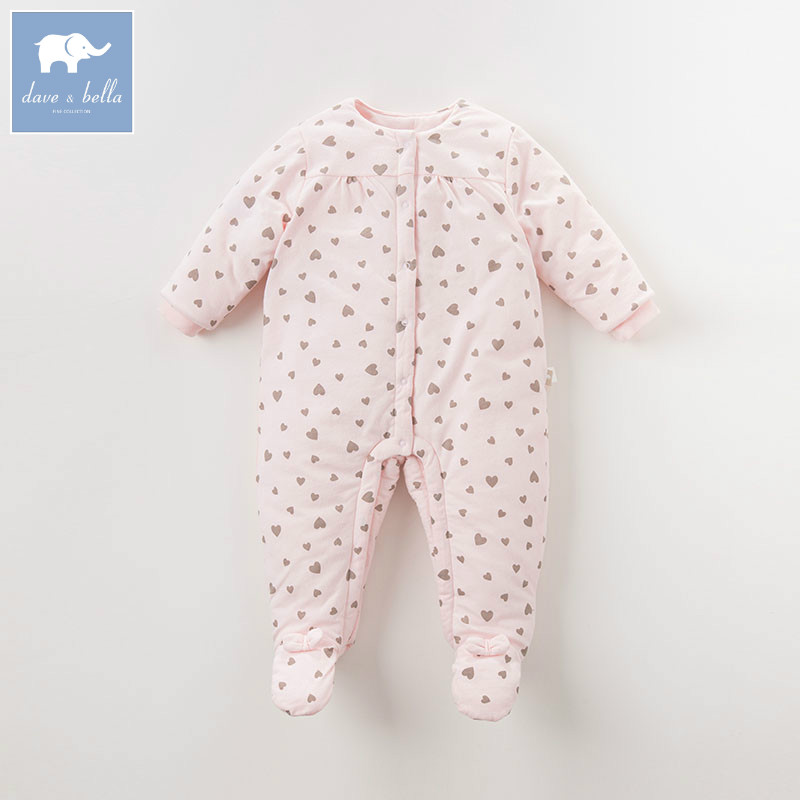 DB5914 dave bella autumn new born baby girls cotton romper infant clothes children heart print romper toddler baby 1 piece db7191 dave bella summer baby girls newborn infant toddler jumpsuits children short sleeve printing clothing baby romper