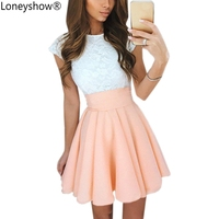 Loneyshow 2017 Summer Elegant Women Vestidos A Line Cute Dress Short Sleeve Plus Size Bodycon Slim