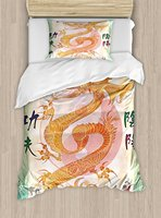 Dragon Duvet Cover Set Asian Chinese Dragon with Martial Arts Figures Japanese Samurai Ying Yang Picture 4 Piece Bedding Set