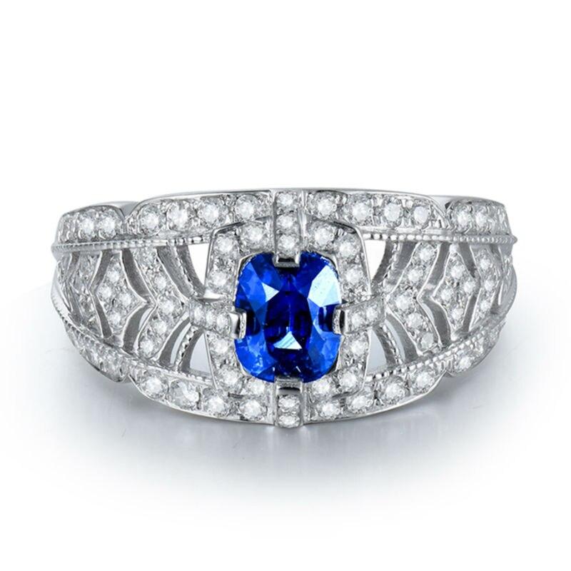 0.53 Karat Diamond Bərk 18K Ağ Qızıl Yastıq 4x5mm Orijinal Mavi - Gözəl zərgərlik - Fotoqrafiya 2