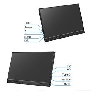 """Image 5 - 13.3 """"4 K taşınabilir monitör FHD 3840x2160 IPS tipi C LCD HDMI monitör giriş tipi c dahili hoparlör ekran oyun monitörü"""
