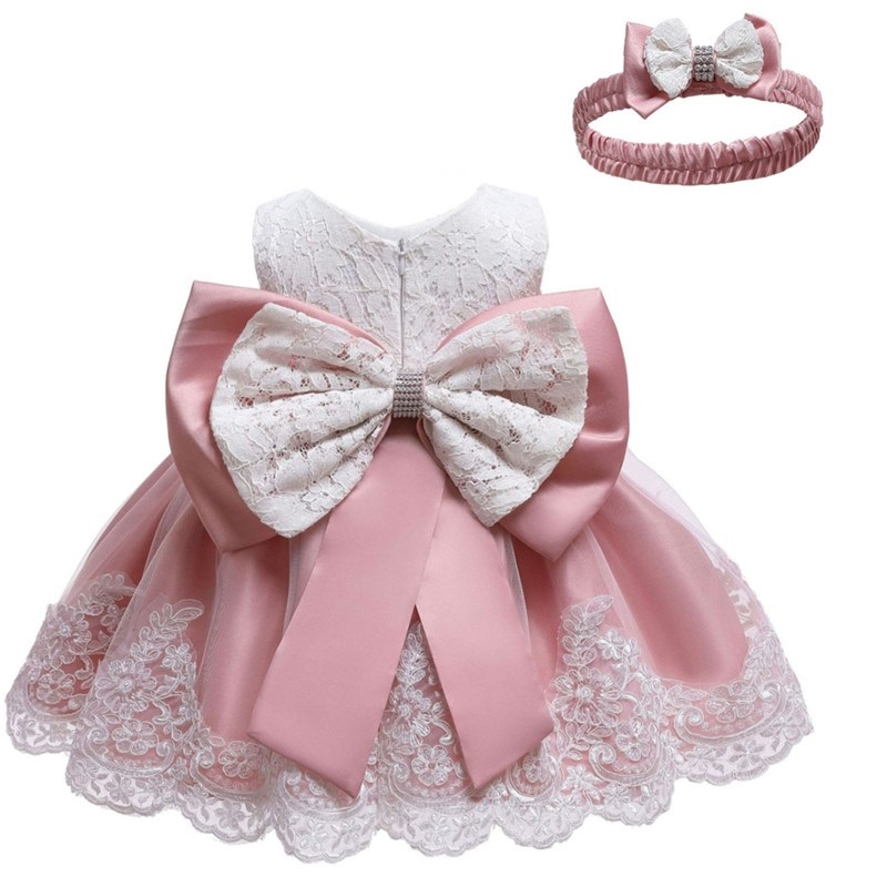 Infant Baby Lace  Dress Big Bow Pink Baptism Dresses For Girls 1 Year Birthday Party Wedding  2019 Summer Baby Girl Dress