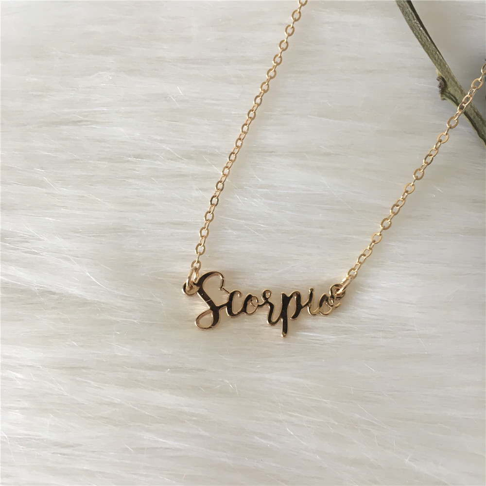 Gold color plating dainty SCORPIO personalized name necklace for women
